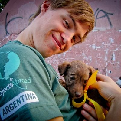 A Projects Abroad teenager working with animals in Argentina for the summer helps socialise a puppy at a shelter.